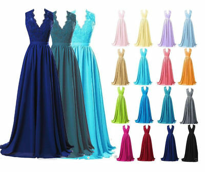 New Stock Lace Chiffon Formal Party Evening Prom Ball Gown Bridesmaid Dress 6-18