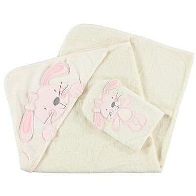 B is for Bear Hooded Towel and Mitt, Newborn Baby Hooded Bath Towel