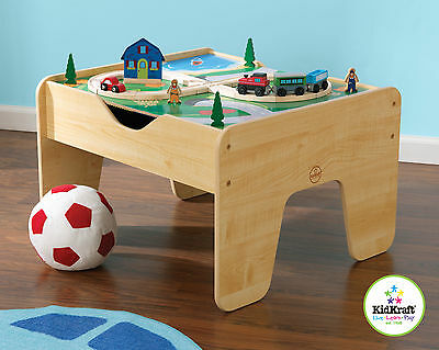KidKraft Wooden 2-in-1 Activity Table Double-Sided  Board Train Set 17576