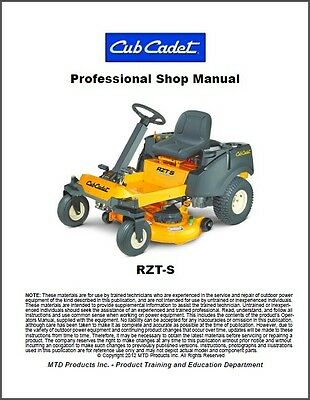 Cub Cadet RZT-S Zero-Turn Riding Mower Service Manual on a CD