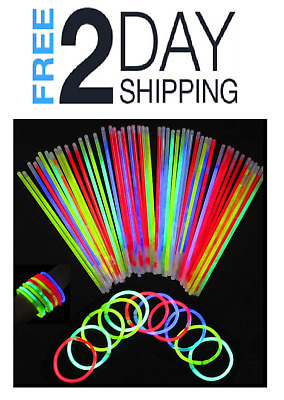 "301 8"" Premium Glow Sticks Bracelets Necklaces Party Favors Rally Raves EDC"