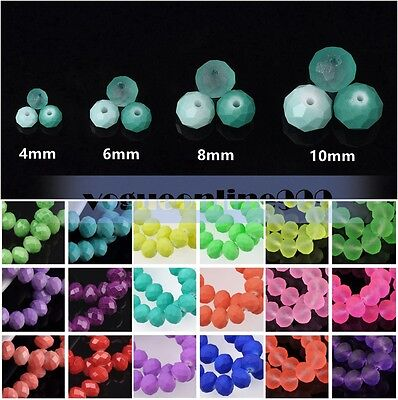 HOT Wholesale 4mm/6mm/8mm/10mm Rondelle Faceted Glass Charm Loose Spacer Beads