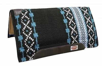 """36""""x34"""" TURQUOISE Shock Absorbent Memory Felt Bottom Cutter Style Saddle Pad NEW"""