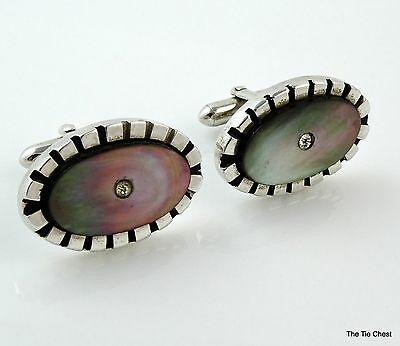 Vintage Swank Cufflinks Large Silver Tone Oval Gray Mother-of-Pearl