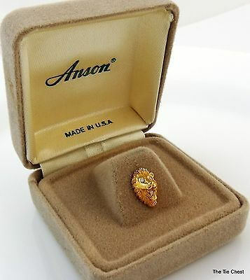 Vintage Lion Head Tie Tack Pin in Gift Box Gold Tone Anson New Old Stock NOS