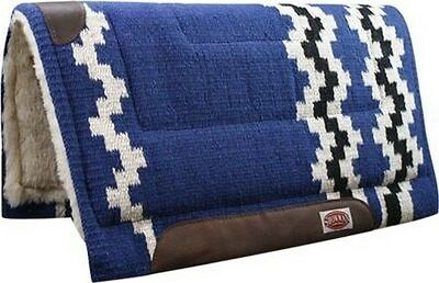 """Showman 36""""x34"""" BLUE 100% Wool Western Cutter Style Saddle Pad! NEW HORSE TACK!"""