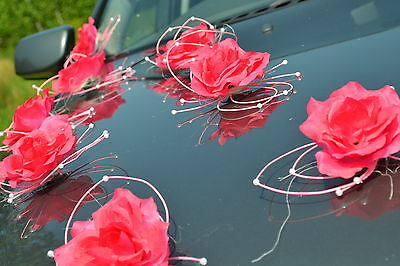 wedding car decorations, butterflies kit,voiture de mariage décoratio DARK PINK