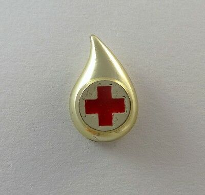 Red Cross Blood Donor Tie Tack Lapel Pin Hat Pin Gold Tone