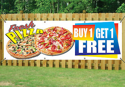 PIZZA SHOP TAKEAWAY BANNER BUY 1 GET 1 FREE OUTDOOR SIGN PVC with Eyelets V1
