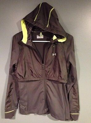 Under Armour Run Cold Gear Semi-Fitted Hoodie Jacket Gray Women's Small
