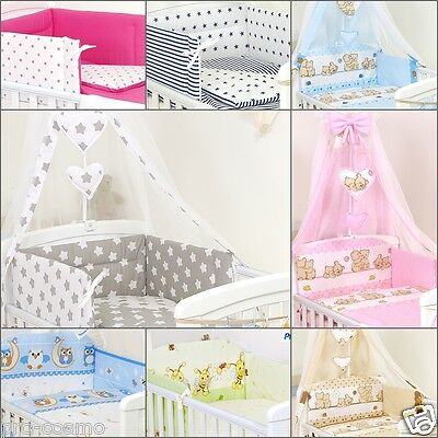 Baby Boy / Girl  9 Pcs Bedding Set To Fit Cot&cotbed Duvet Bumper Canopy+Holder