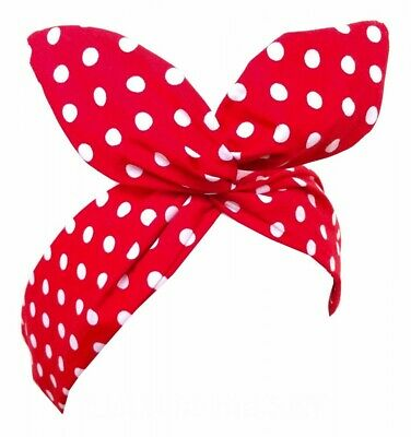 Pinup Haarband mit Draht POLKA DOT-ROT/WEISS Vintage Retro 50er Jahre Punkte 50s