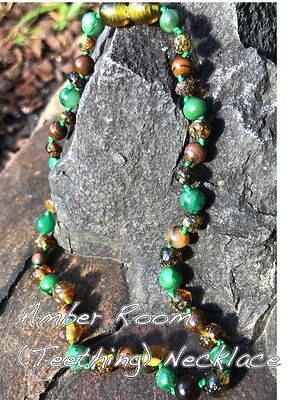 Certified Childrens BALTIC Amber Necklace for Baby Toddler - Green/African Jade