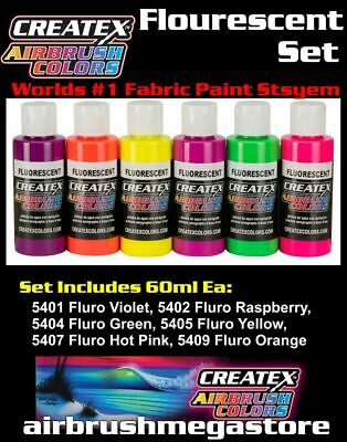 Createx Airbrush Colors Flourescent 60ml Set Importer Direct + Free Insured Post