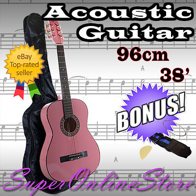 "New 38"" Pink Steel String Acoustic Classical Guitar Pack - Bag, Strap, Strings"