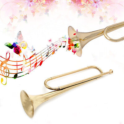 B Flat Tone Cavalry Trumpet Bugle Gold Lacquer Finish for Orchestra School Band