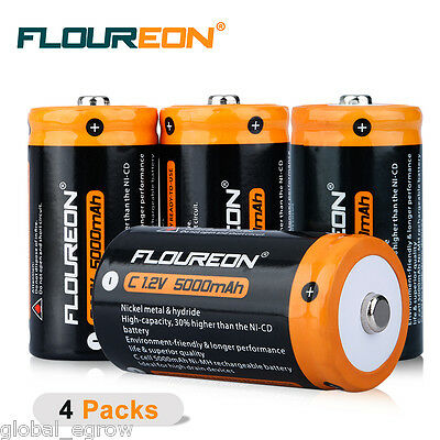 4pcs Floureon C Size 5000mAh 1.2v Ni-MH Rechargeable Battery Pack Cell AU Stock