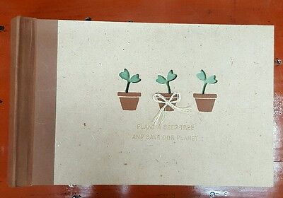 Recycled paper Photo album w cute quote & cut out plant detail - holds 100 pics