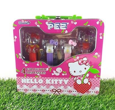 hollo kitty PEZ SANRIO 4 COLLECTIBLE DISPENSERS set CANDY IN NEW TIN BOX