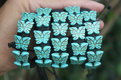 5 Butterfly Artificial Blue Turquoise Leather SlipKnotted Bracelets Wholesale
