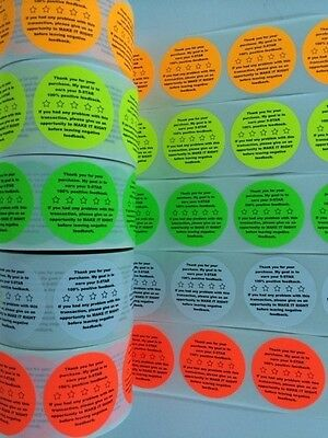 "3000 2"" Feedback 5-STAR STICKERS Labels Stickers Fluorescent Thank You LABELS"
