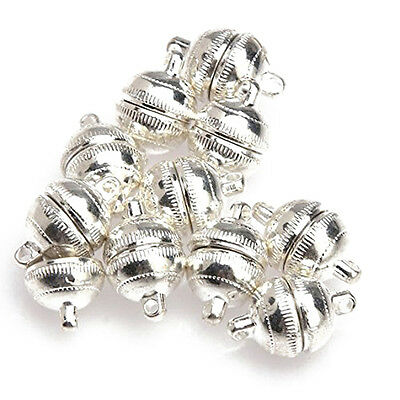 10pcs Silver Plated Strong Magnetic Clasps Round 10mm for Bracelets Jewelry S*