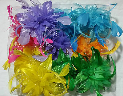 Various coloured feather flower fascinator on a fork clip and brooch pin
