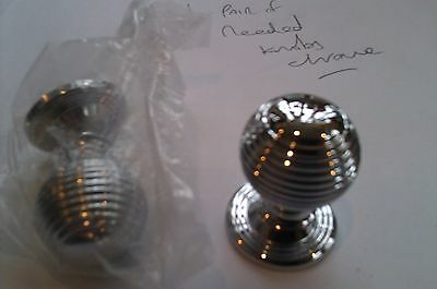 pair of quality heavy reeded cupboard door knobs 28mm chrome