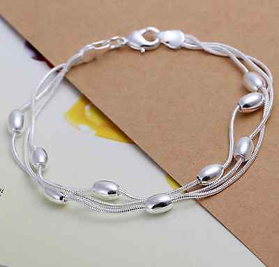 925 Sterling Silver Three-line Bracelet Bangle Gift FREE P&P