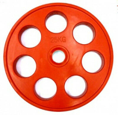 """Ironman Olympic 2"""" Rubber Coated 7 Hole Disc 25kg - Single Disc"""