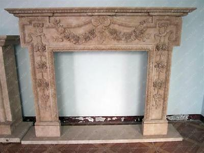 Hand Carved Marble Fireplace Mantel, Floral Relief Carvings, Beige #3915
