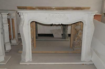 Simplistic French Rococo Marble Fireplace Mantel, White Marble #3822