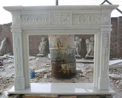 Classic Hand Carved Marble Fireplace Mantel, White Marble #3908