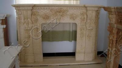 "French Design Hand Carved Marble Fireplace Mantel, Large 98.5"" wide"