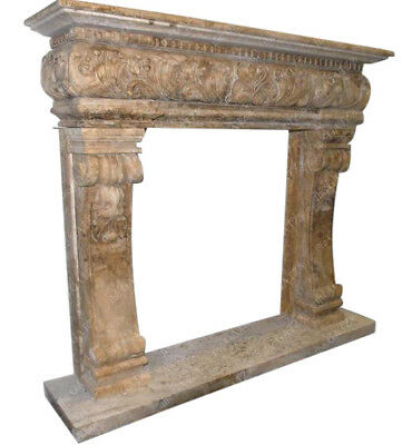 Travertine Fireplace Mantel, Renaissance or Old World Style