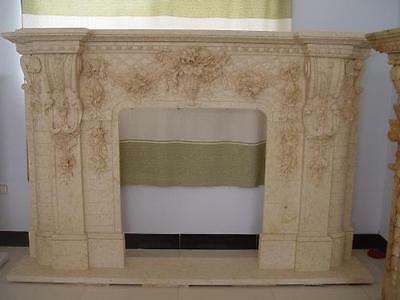 Gorgeous Carved Marble Fireplace Mantel features Flowers in Urn, #3901