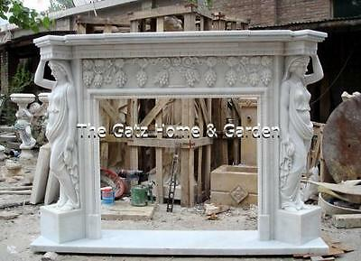 Marble Fireplace Mantel and Surround featuring Figural, Grape and Leaf Carvings