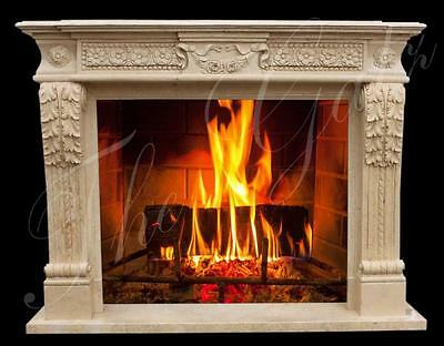 Beautiful Carvings on this Traditional Style Marble Fireplace Mantel in Beige