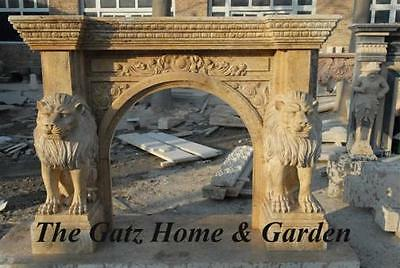 "Masculine Marble Fireplace Mantel Featured Large Sitting Lions, 84.6"" Wide"