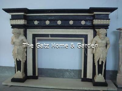 Two Tone Marble Fireplace Mantel with Greek Statue Columns