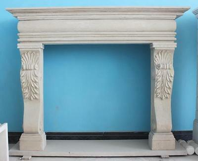 Elegant Hand Carved Marble Fireplace Mantel , Clean & Simple in Egyptian Biege