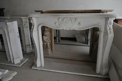Simplistic French Rococo Marble Fireplace Mantel in white Marble #3821
