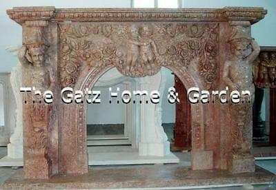 Hand Carved Marble Fireplace Mantel, Arched Opening, Heavily Carved with Cherubs