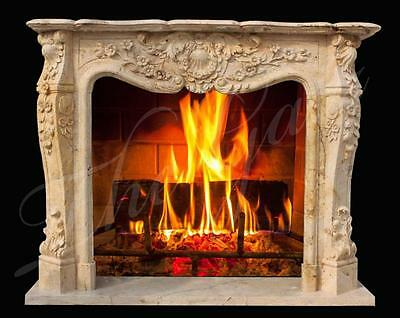 Elegant Louis XVI Inspired Classic French Style Marble Fireplace Mantel #3843