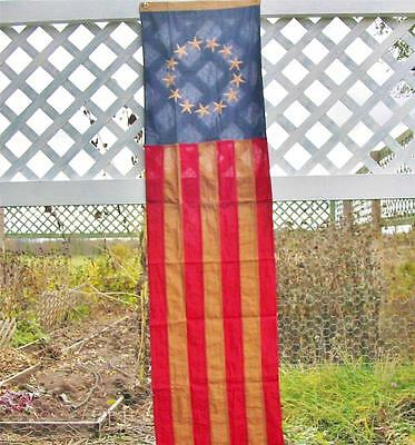Patriotic Tea Stained Long Flag Red White Blue Large 77 by 17 inches 13 Stars