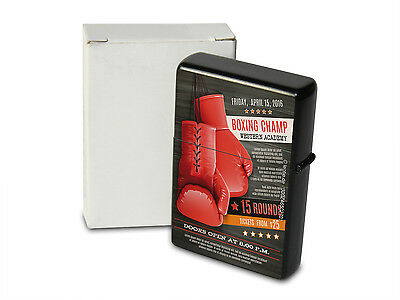 Pocket Windproof Lighter Brushed Oil Refillable Boxing Champ