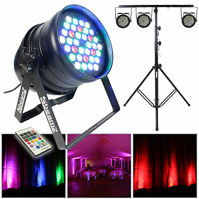 Beamz PAR Can LED Colour Wash Lights Party Disco DJ Uplighters Package + Stand