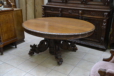 Magnificent Antique French Dining Table Hugh Winged Mythical DRAGONS Jumbo Size