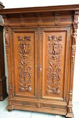 Antique French Cabinet Bedroom Armoire Plenty Storage Carved Cherubs and Statues