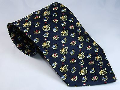FROG LILY PAD Novelty Theme SILK NECKTIE Navy Mens Neck Tie All-over New NWOT B